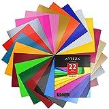 Arteza Plotterfolie 22er-Set, Vinylfolie 25.4 x 30.5 cm, bunte Flexfolie für Hitzedruck-Transfer von Bügelbildern auf dunkle und helle Textilien