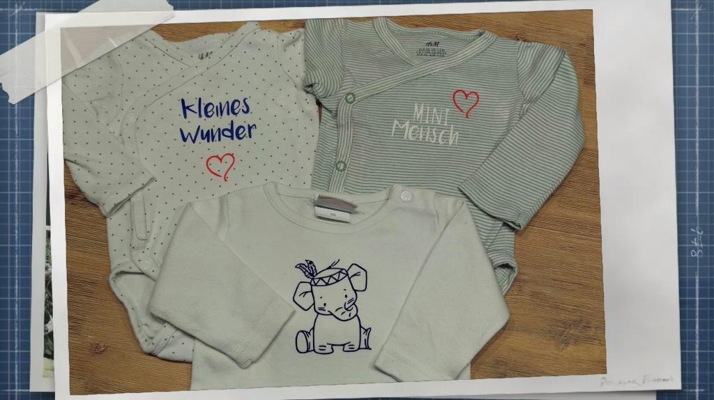 ...und natürlich können wir auch Kleidung nach Lust und Laune beplotten...Für unsere Kleinen....